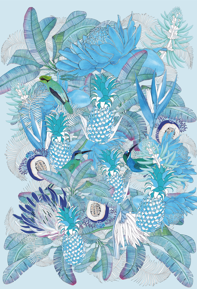 Forget Me Not - pineapple pattern - hand draw by Coco - www.coco.bzh