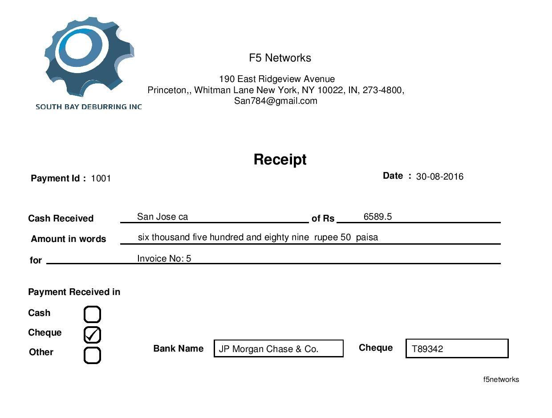 Jaze Wifi Billing Receipt Template F5 Networks Receipt Template Operations Management