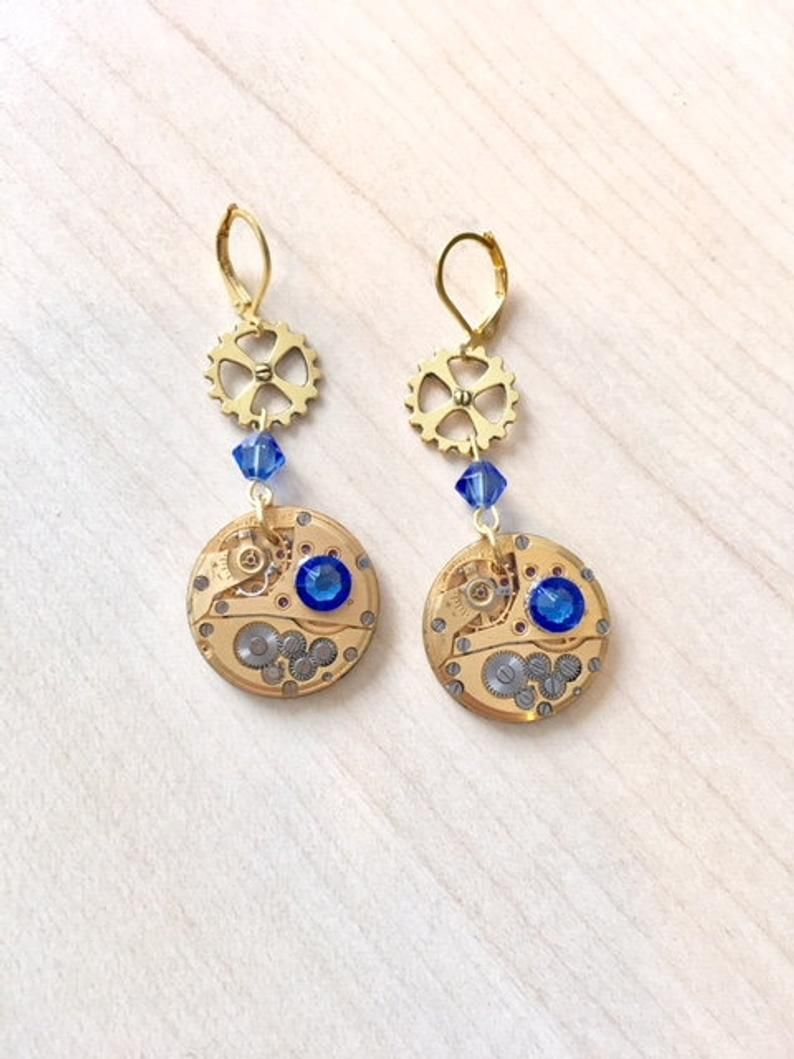 ea12e7a42 Gold-plated steampunk earrings with genuine gold watch mechanism and ...