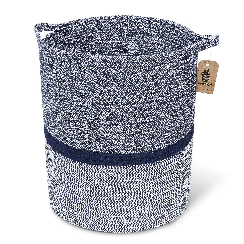 Woven Clothes Basket Large Soft Cotton Storage Laundry Hamper Navy