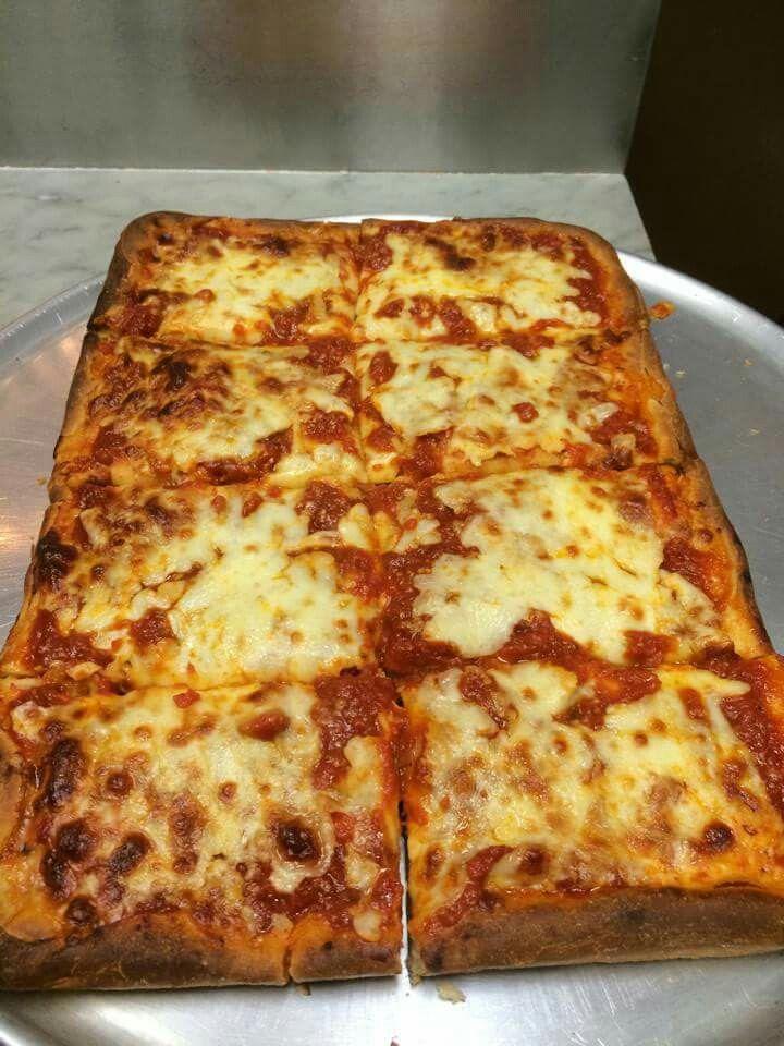 New York Sicilian Pizza Dough And Pizza Sauce Made Fresh Daily House Shredded Mozzarella Cheese Dough Is Pressed Firmly Int Pizza Sauce Sicilian Pizza Pizza