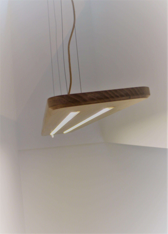 Eiken Hanglamp Met 2 Led Profielen 12v Houten Lamp Led Lampen