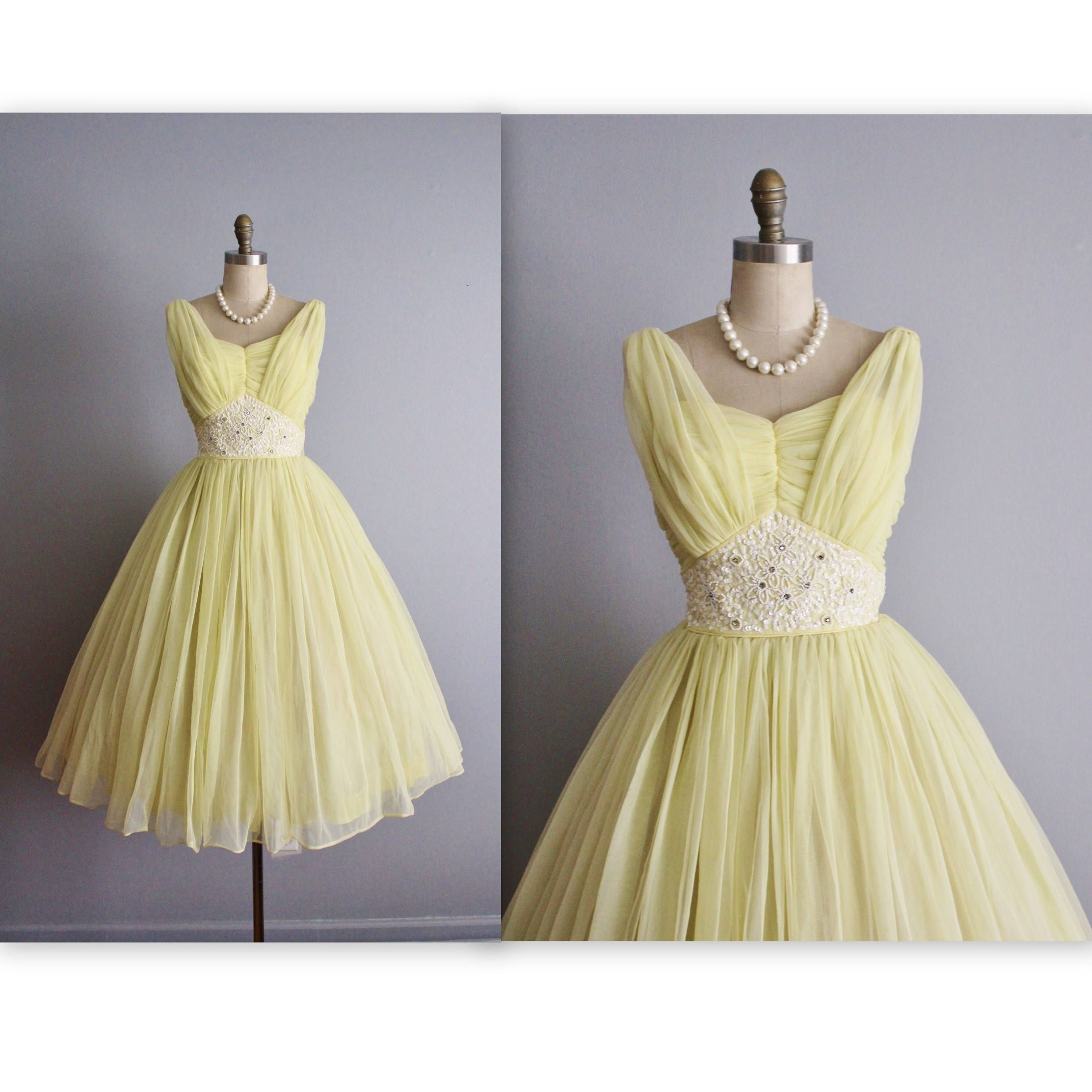 Gorgeous 50s Dress Features Include Clic Silhouette Vibrant Lemon Chiffon Strapless Sweetheart Bodice With Ruched Overlay Ornate Beadwork