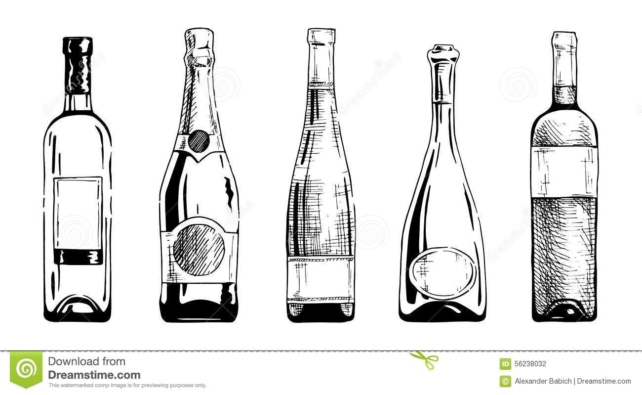 wine bottle champagne bottles ink hand draw style bottle drawing