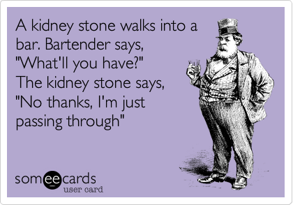 A Kidney Stone Walks Into A Bar Bartender Says What Ll You Have The Kidney Stone Says No Thanks I M Just Passing Through Kidney Stones Funny Kidney Stones Kidney Stone Meme