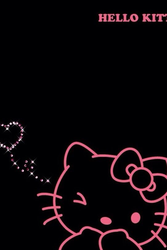 Black Neon Outline Hello Kitty Hello Kitty Wallpaper Hello Kitty Hello Kitty Backgrounds