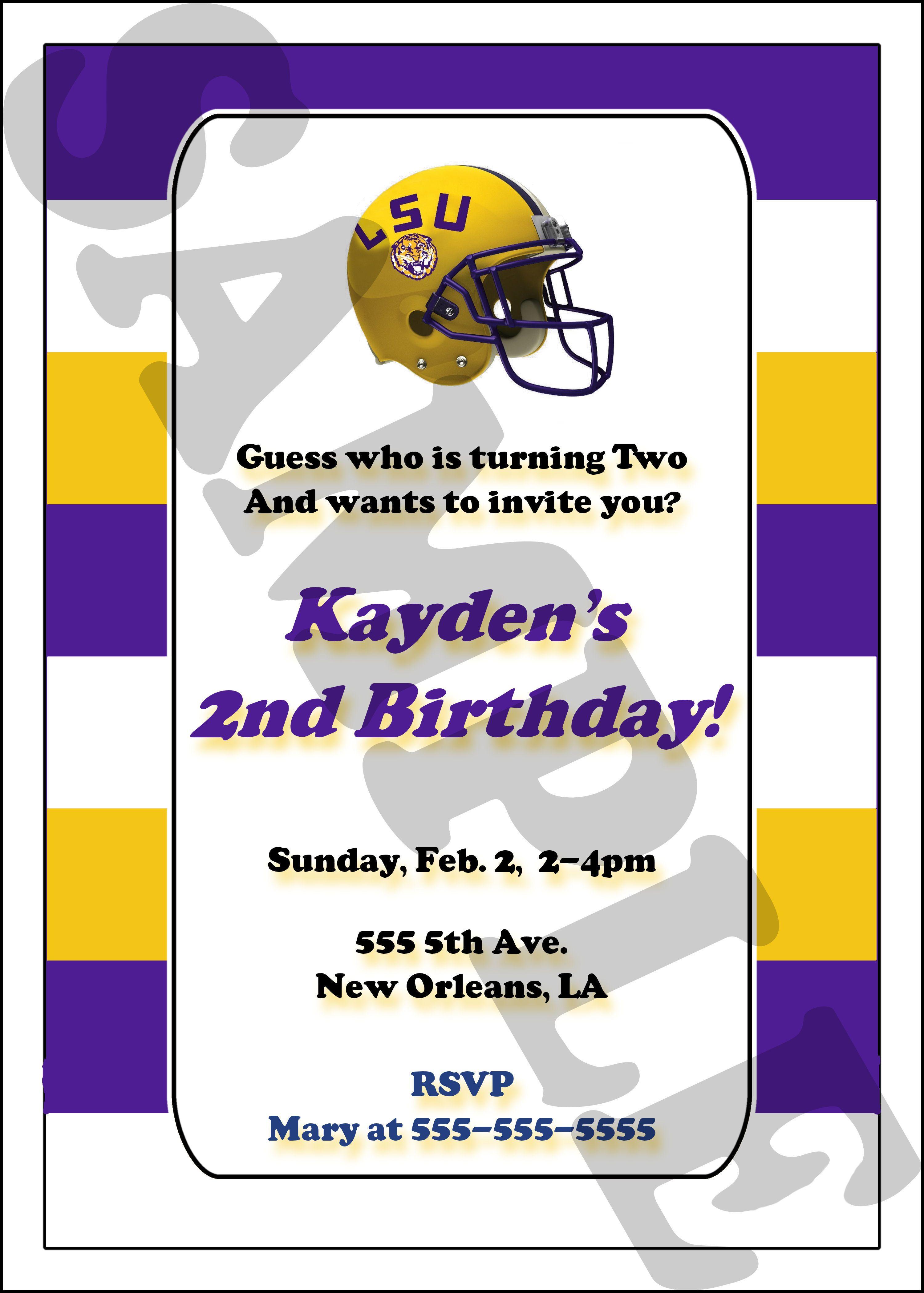 LSU Custom Printable Invitation birthday party football helmet ...
