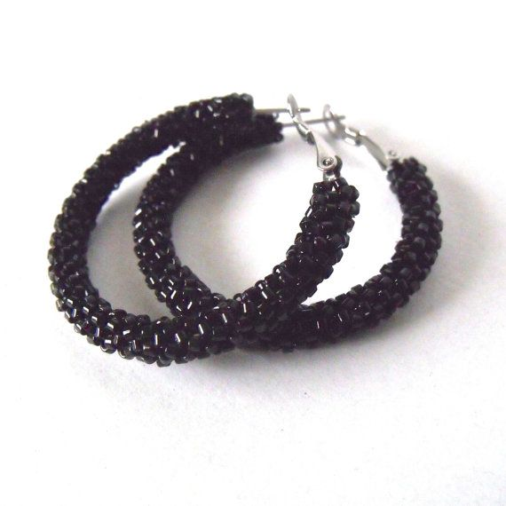 Beaded Black Hoop Earrings Woven Jewelry Seed Bead Jet Hoops