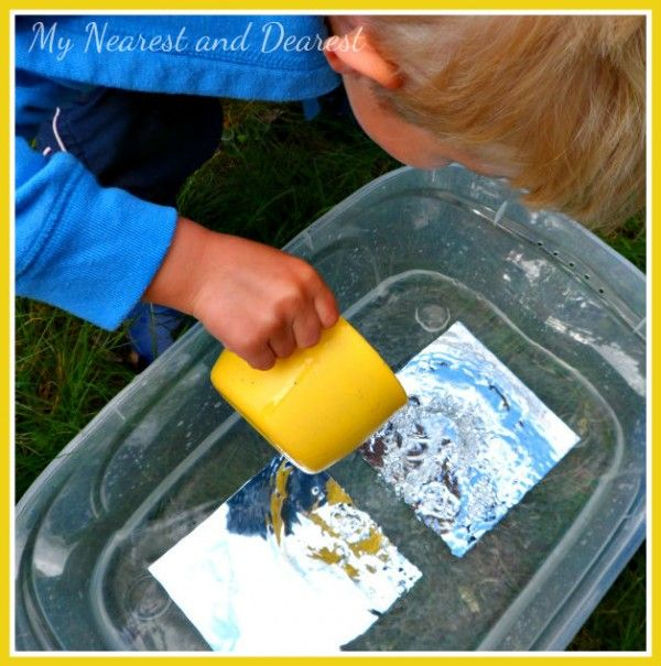 Water, Mirrors, and Reflections: A Physics Investigation for Preschoolers from My Nearest and Dearest (Pour Water Science Experiments)