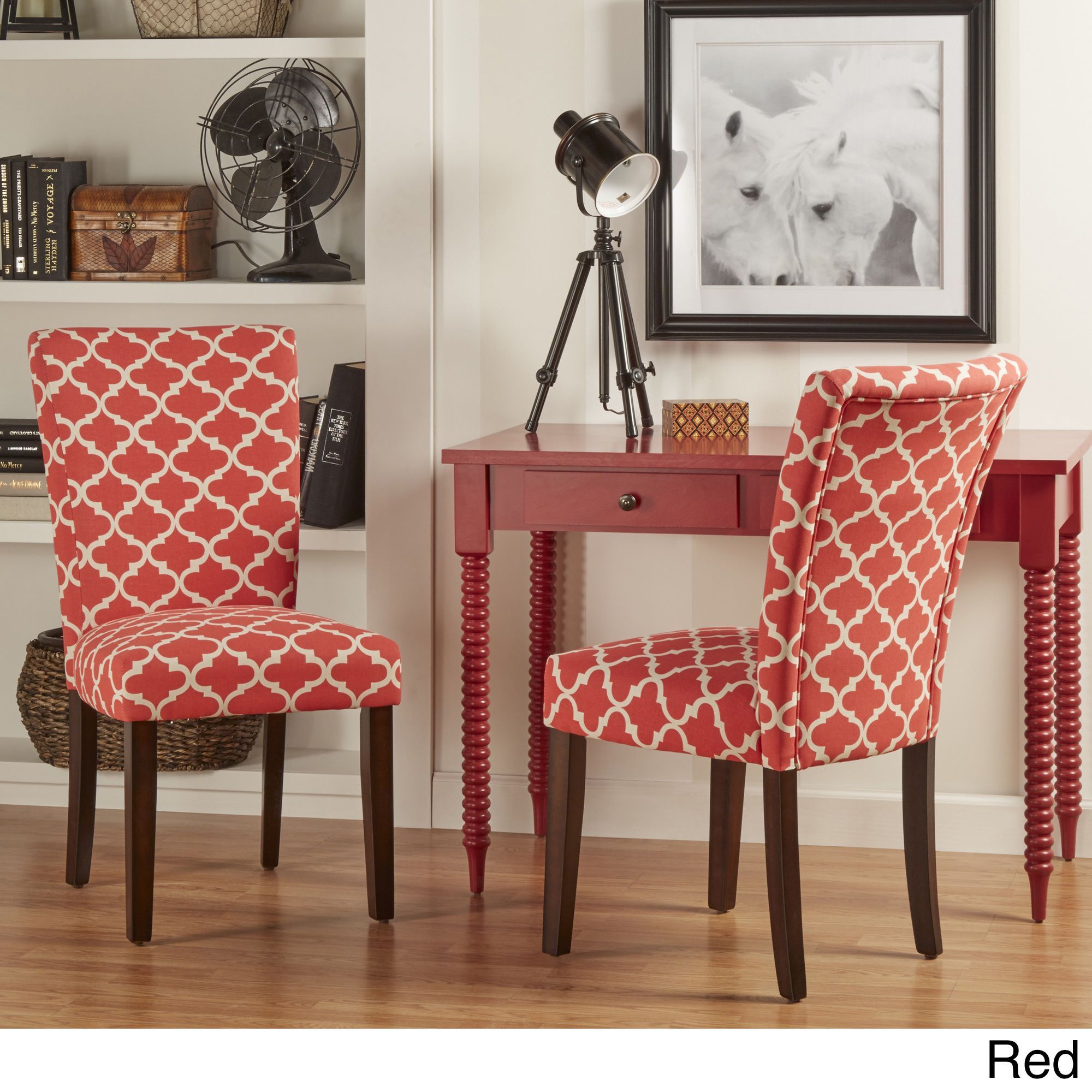 Catherine Moroccan Pattern Fabric Parsons Dining Chair by Inspire Q (Set of  2) (