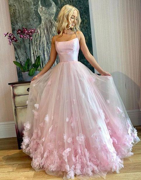 Light Pink Spaghetti Straps Long Prom Dresses,Flowers 3D Evening Dresses