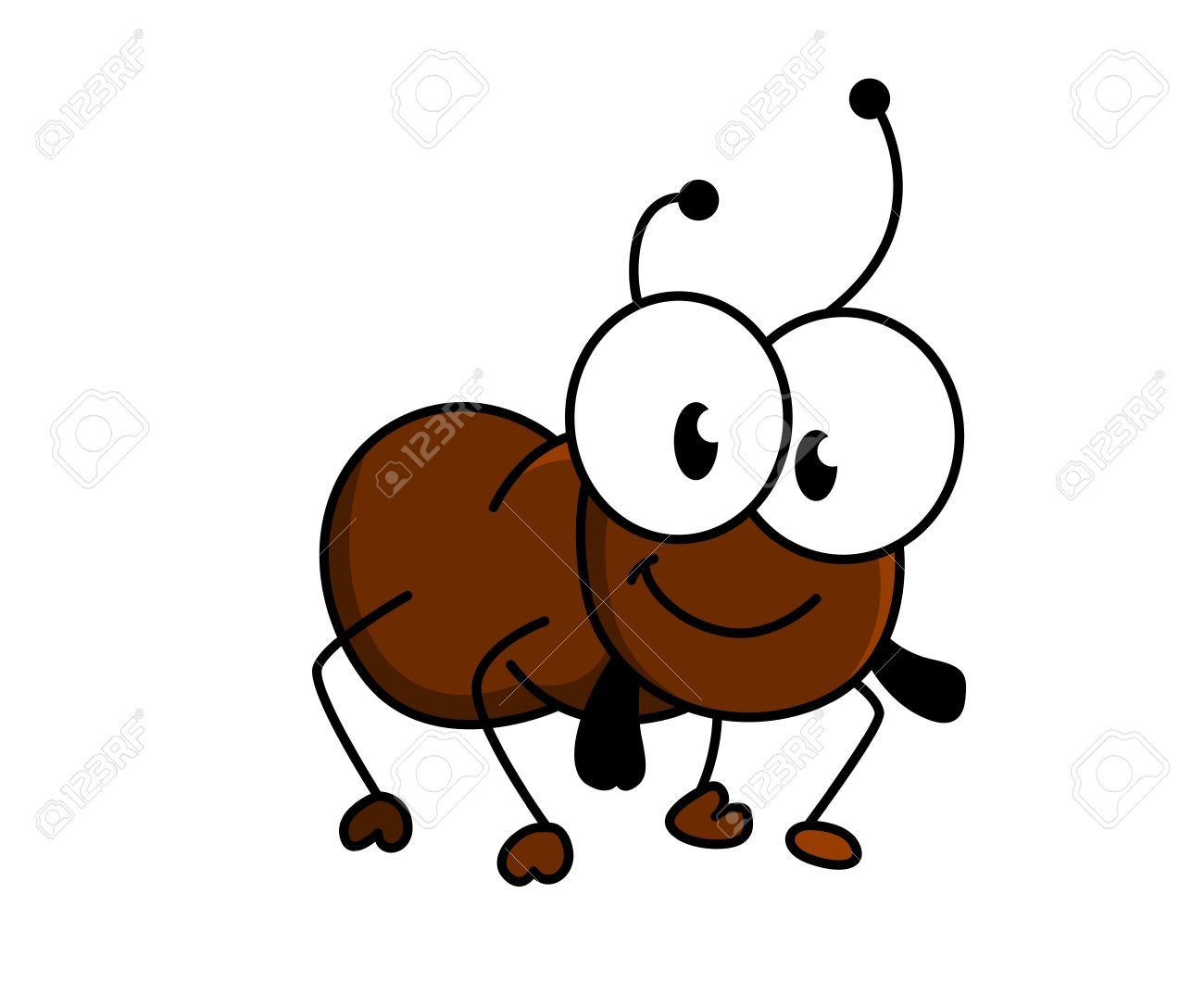 Adorable Little Brown Cartoon Ant With A Happy Smile And Googly