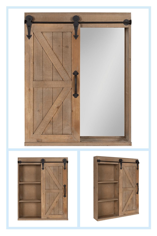 Kate And Laurel Cates Storage Cabinet And Vanity In 2020 Rustic Bathroom Vanity Diy Diy Barn Door Cheap Storage Cabinet