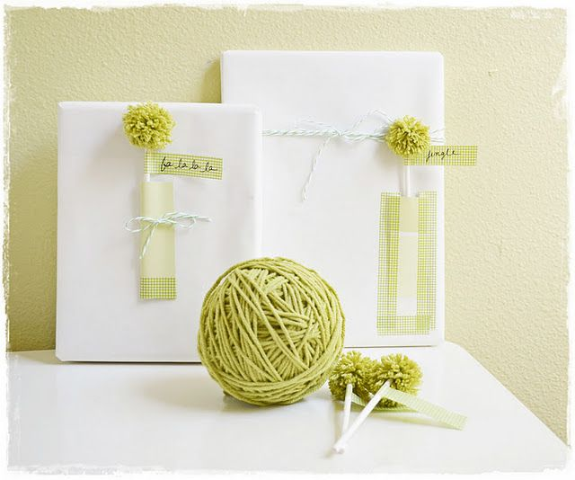 Pompom and washi tape gift wrapping