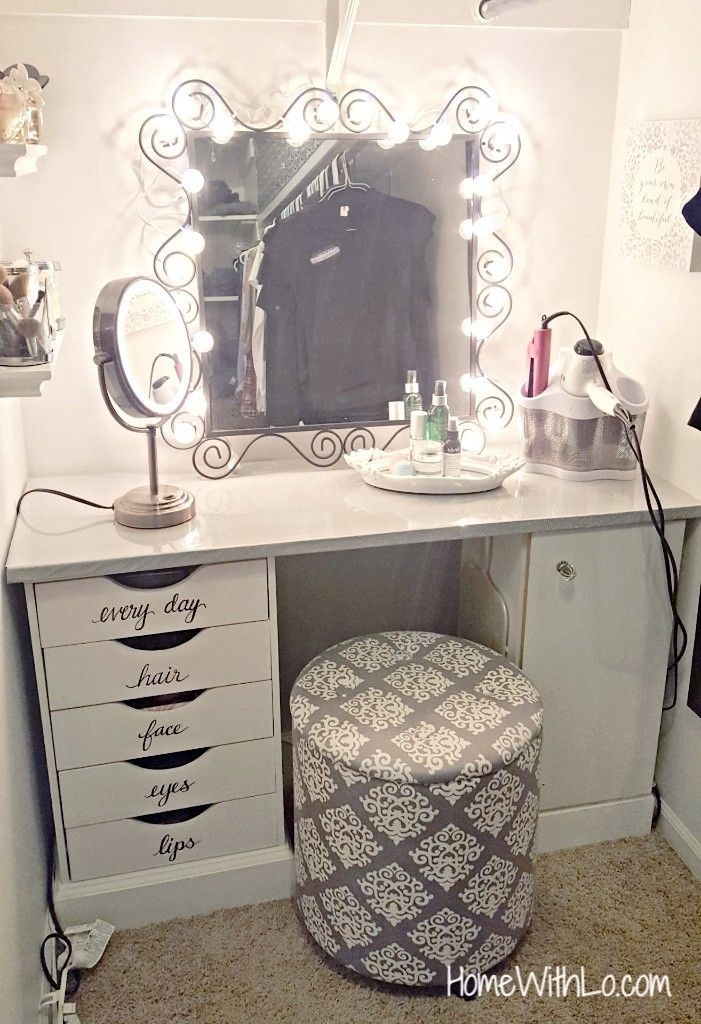 A Step By Step Process On How I Built A Corner Makeup Vanity Source List Included Corner Makeup Vanity Diy Vanity Mirror Makeup Rooms