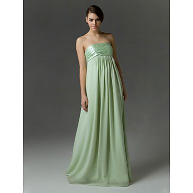 Color_SAGE Empire Strapless Floor-length Chiffon And Charmeuse Bridesmaid/Wedding Party Dress – USD $ 67.99