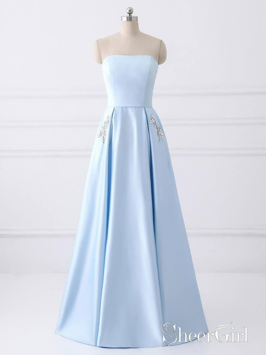 A Line Strapless Simple Long Cheap Red Prom Dresses With Pocket Apd3026 Light Blue Prom Dress Prom Dresses Sleeveless Strapless Prom Dresses [ 1200 x 900 Pixel ]