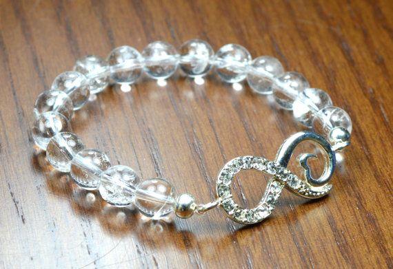 Crystal Quartz Infinity Bracelet. Stretch Gemstone by iyildiz, $24.00