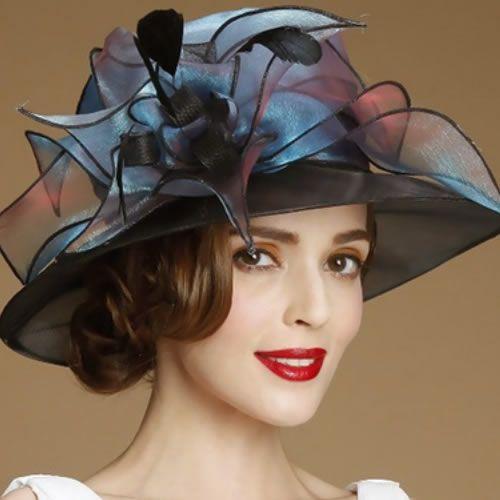 Designer Jewel Blue Organza Fashion Church Dress Derby Hats for Women  SKU-158534 522bf000ea01