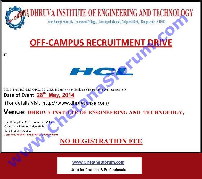 (FRESHERS) 'HCL' OffCampus Graduates / PostGraduates