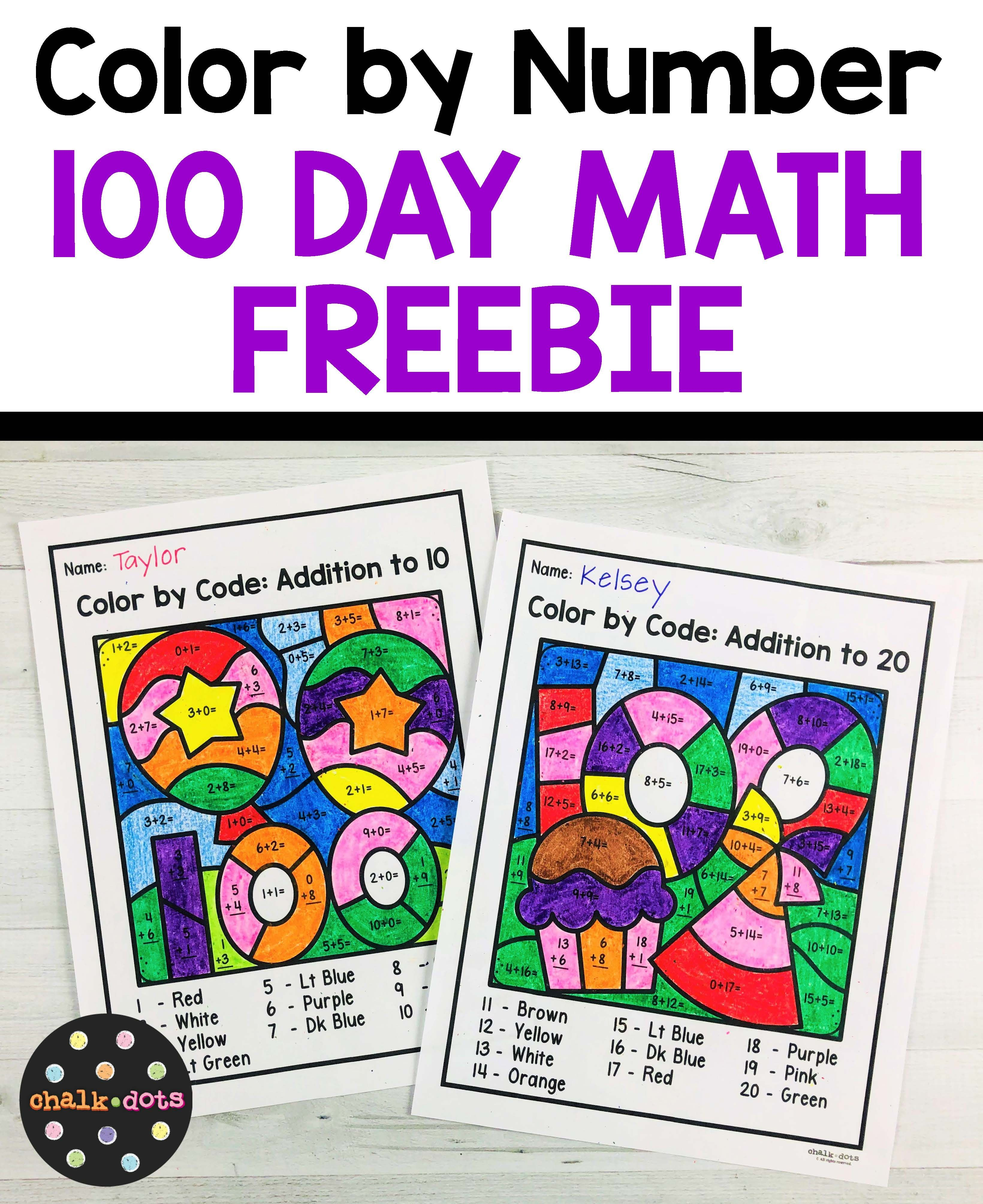 100 Day Math Color By Number Freebie
