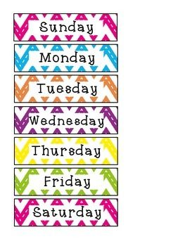Chevron Days Of The Week Freebie Classroom Calendar Name Tag