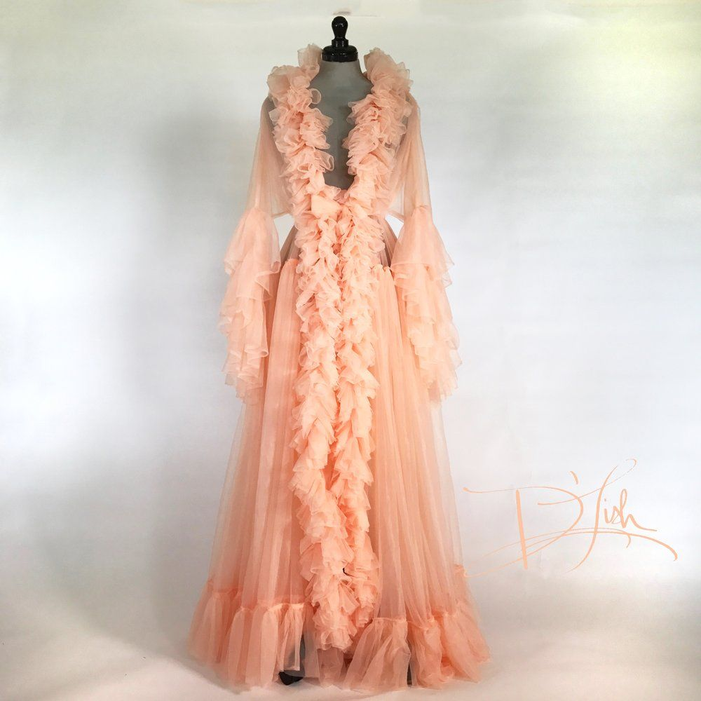 Image of Peach Nylon Chiffon Dressing Gown (Available now ...