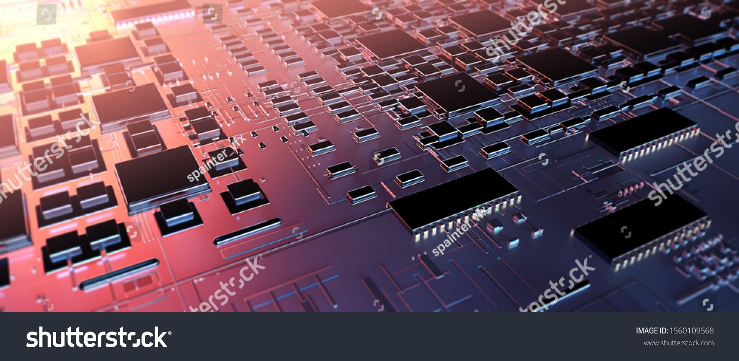 Circuit Board Futuristic Server Code Processing Orange Green Blue Technology Background With Bokeh U002fpri Stock Photos Technology Background Photo Editing