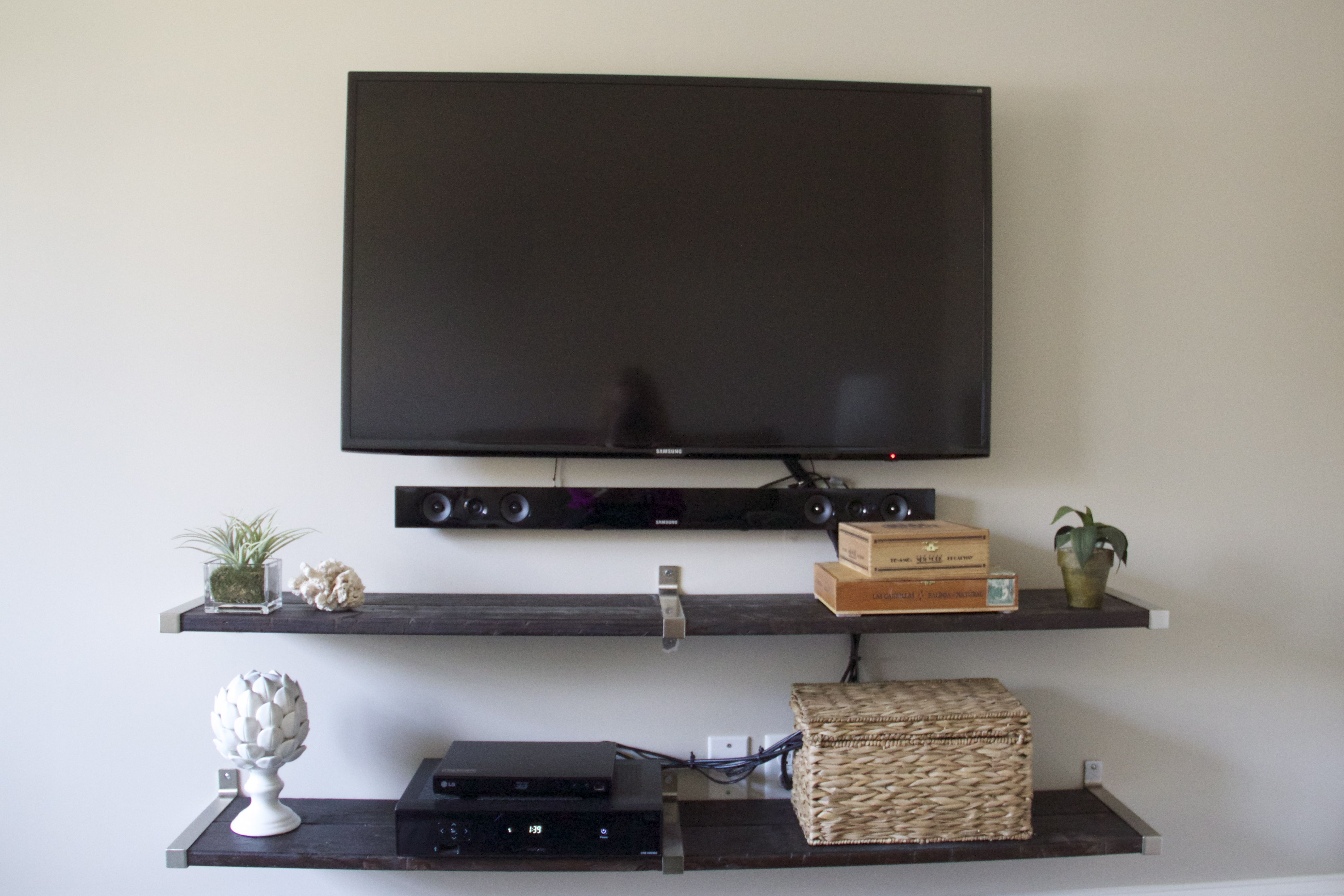 tv wall using ikea ekby shelf end brackets and connecting bracket mueble tele pinterest tv. Black Bedroom Furniture Sets. Home Design Ideas