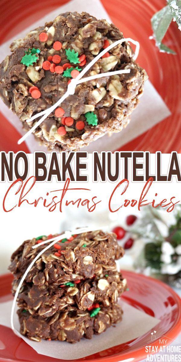 No Bake Christmas Cookies.No Bake Nutella Christmas Cookies