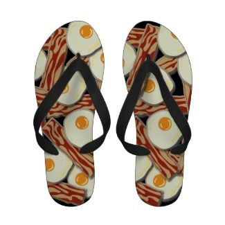 4416107843373 Bacon and Eggs Pattern Sandals   All Things Zazzle   Bacon, Bacon ...