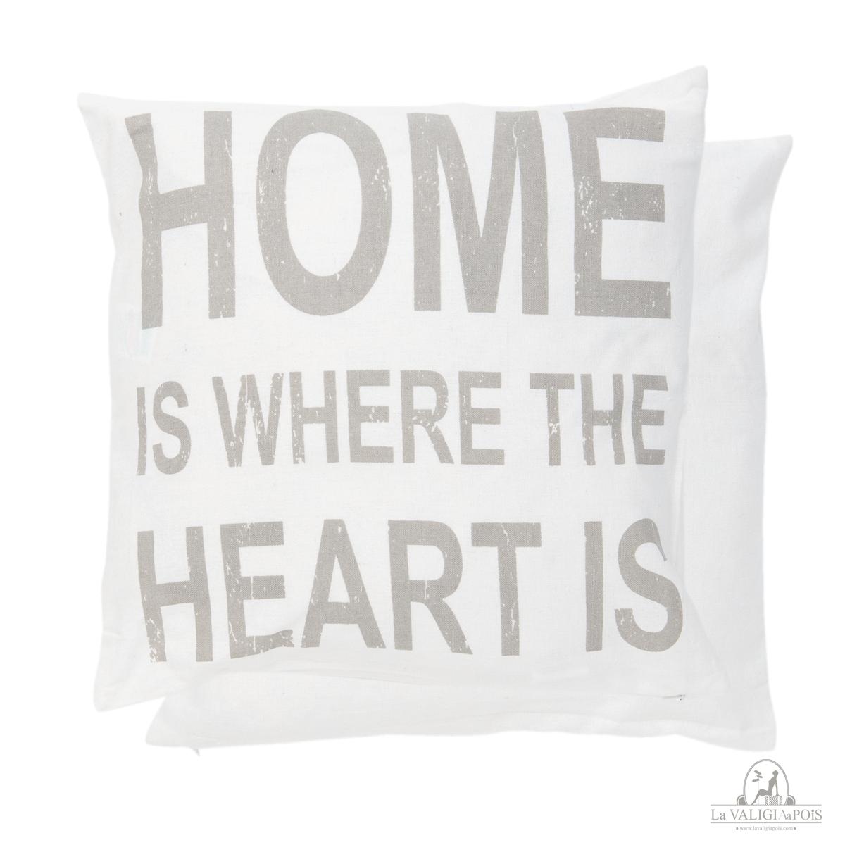 Federa Cuscino Con Scritta.Federa Home Di Colore Bianco Con Scritta In Grigio Chiaro Home Is
