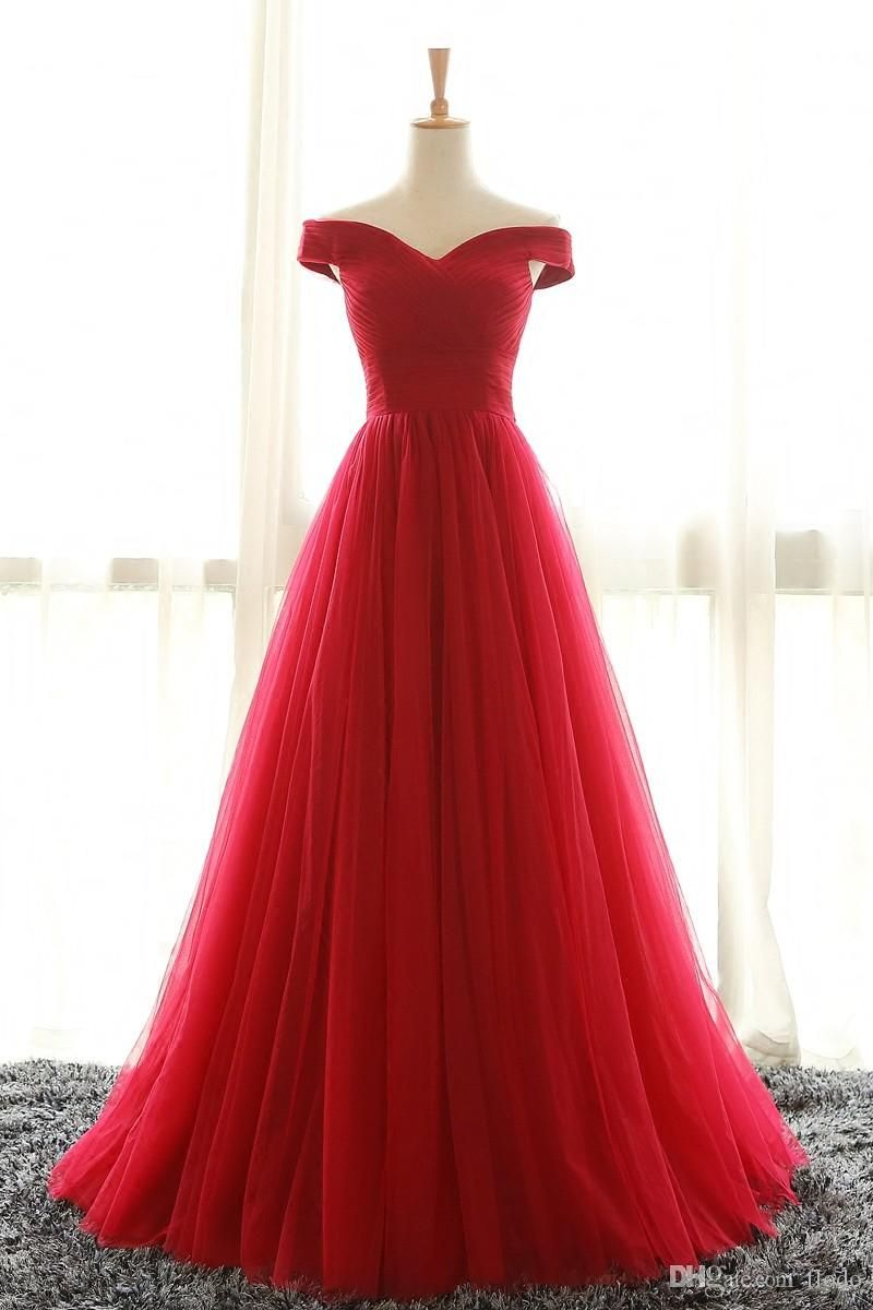 Cheap off shoulder red tulle prom party dresses sweep train