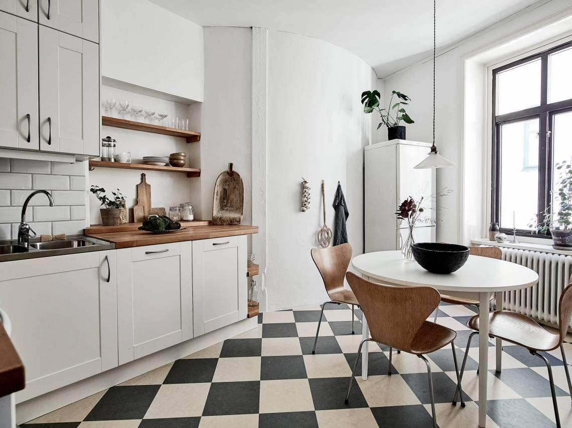 Piso damero cocinas pinterest pisos cocinas y hogar - Pintar baldosas cocina ...