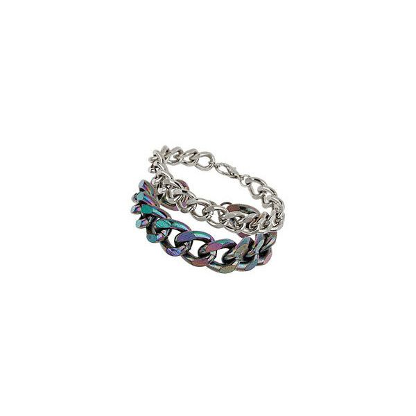 Iridescent Mixed Multi Chain Bracelet (43 BRL) ❤ liked on Polyvore featuring jewelry, bracelets, topshop jewelry, topshop and iridescent jewelry