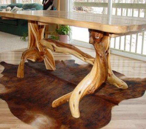 solid slab log dining table with artistic base | Дерево-мебель