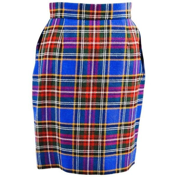 Preowned Vintage Moschino Cheap And Chic Blue Multicolor Wool Plaid... ($115) ❤ liked on Polyvore featuring skirts, blue, colorful skirts, vintage pencil skirts, blue skirt, blue knee length skirt and vintage skirts