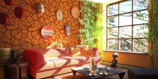 African Living Room Designs Captivating Africanlivingroomdecorwithstonewallandhangingmasks Inspiration Design