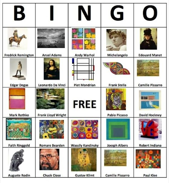 make bingo cards with famous paintings i could see making this a review game by calling out the