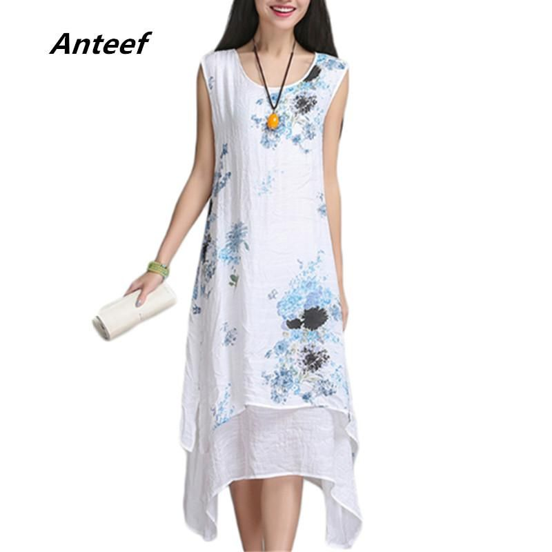 a4b517ab24f new fashion summer style cotton linen vintage print women casual loose  dress vestidos femininos party 2018 dresses