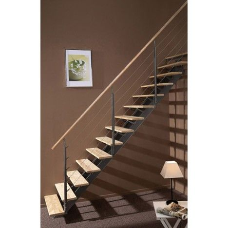 Escalier Droit Alu Gris Escatwin 14 Marches Pin L 85 Escalier