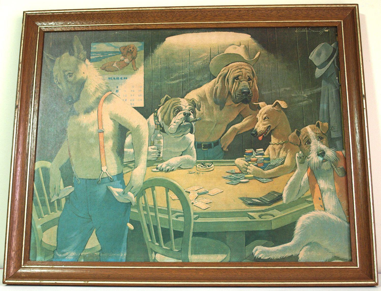 Man Cave Bondi : Winner takes all by arthur sarnoff original vintage lithograph