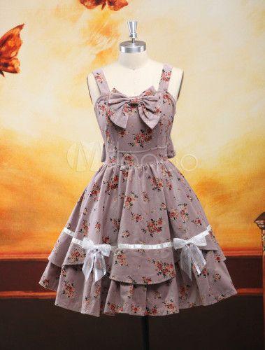 Sweet Gray Straps Neck Drawstring Floral Print Velour Cute Lolita Jumper Skirt - www.milanoo.com