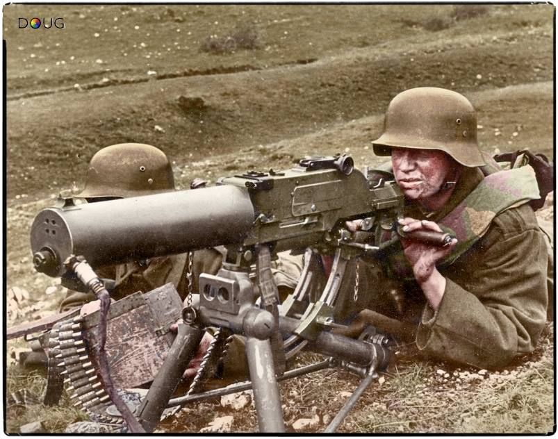 Royal Hungarian Honvéd machine gun team operating a 8mm Schwartzlose MG 07/12 on the Eastern Front c.1941