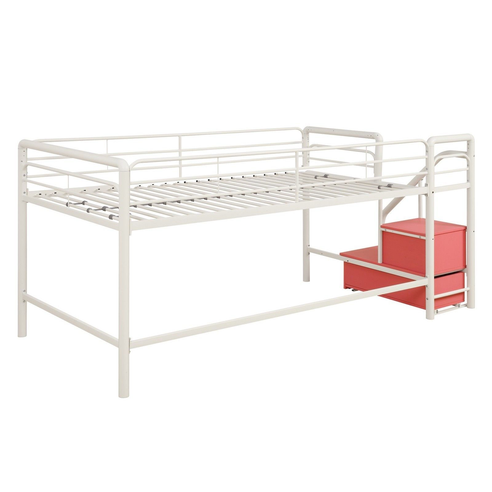 Boys' twin loft bed with storage steps  Your child will love staying underneath the loft and hiding their