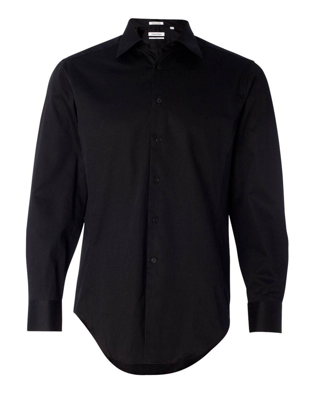 Calvin Klein Slim Fit Cotton Stretch Shirt 13ck023 Black Large Black Dress Shirt Men Mens Shirt Dress Shirts [ 1250 x 1000 Pixel ]
