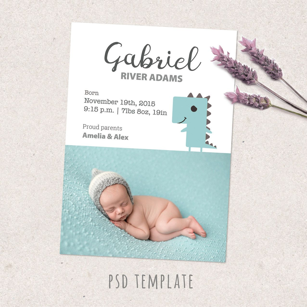 Birth Announcement Template Card Newborn Baby Boy Birth Card For