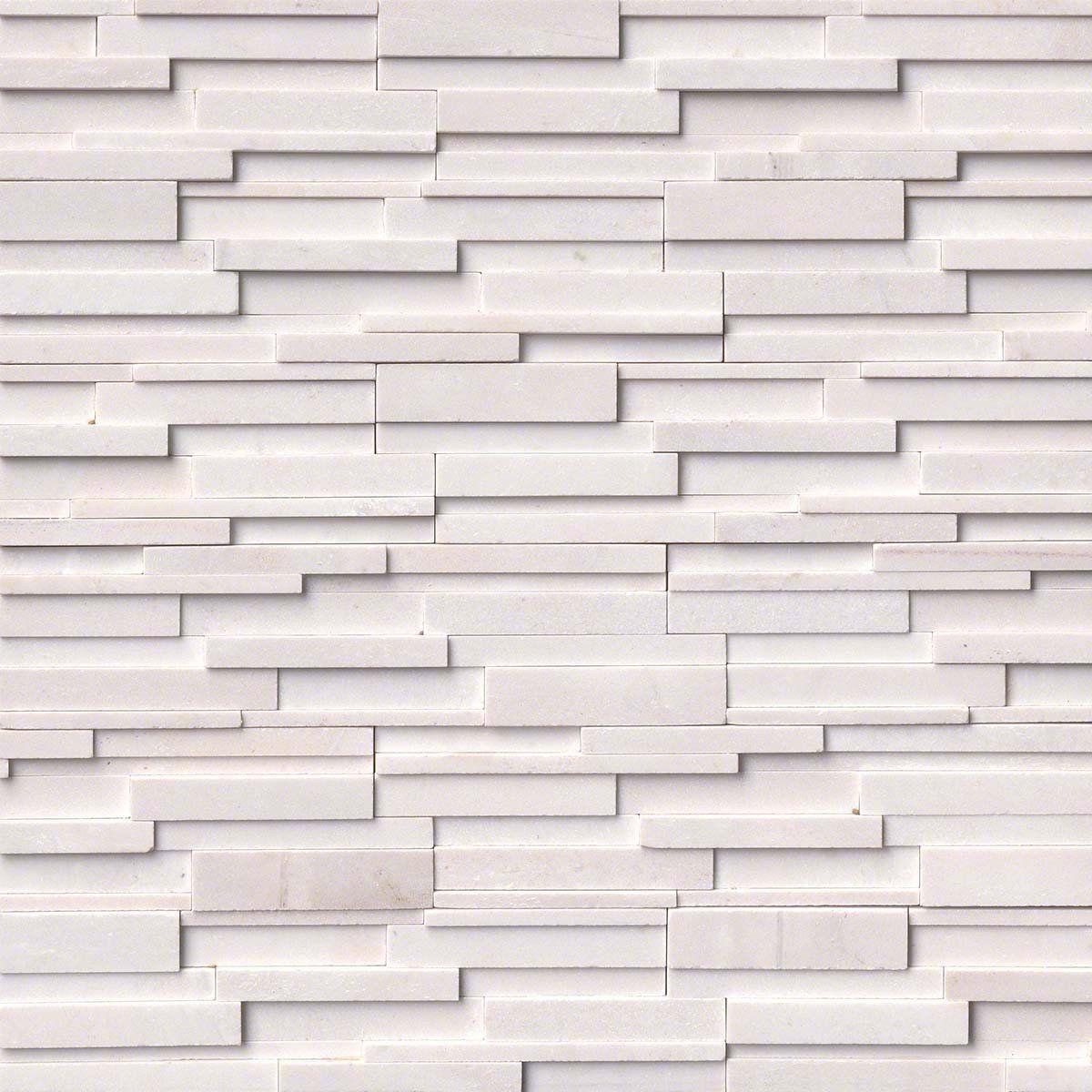 Arctic White 3D Honed Ledger/Stacked Stone Panels