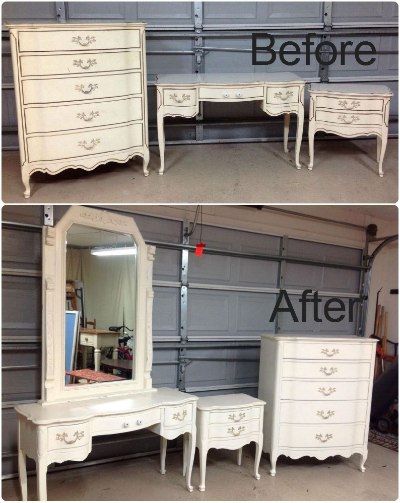 Diy chalk painted french provincial bedroom set paired it - Painted french provincial bedroom furniture ...