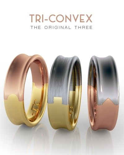 Two Colour Wedding Rings Curved Wedding Bands Mens Wedding Band